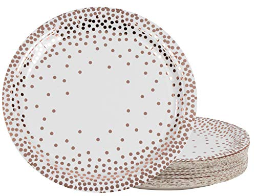 Disposable Plates - 48-Pack Round Paper Plates Party Supplies for Appetizer, Lunch, Dinner, and Dessert, Birthday Party, Polka Dot Confetti Rose Gold Foil, White, 9 x 9 ()