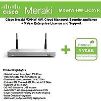 Cisco Meraki MX64W Wireless Firewall Security Appliance Bundle, 200Mbps FW, 5xGbE Ports - Includes 5 Years Enterprise License
