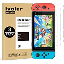 [3 Pack] Nintendo Switch Screen Protector Tempered Glass, iVoler Transparent HD Clear Anti-Scratch Screen Protector for Nintendo Switch, Life Time Replacement Warranty