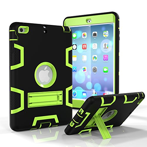 FOLICE iPad Mini Case,iPad Mini 2 Case,iPad Mini 3 Case, Three Layer Shockproof Protective with Kickstand High Impact Resistant Robot Protective Case for iPad Mini 1 2 3 (Black+Olivine) (Dr Who Ipad Mini Case)
