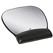 3M Leatherette Mouse Pad with Gel Wrist Rest and Antimicrobial Protection, Large, Black, (MW310LE)