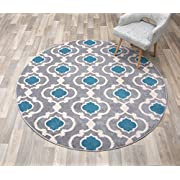 "Rugshop Moroccan Trellis Contemporary Indoor Round Area Rug, 6 6"" Diameter, Gray/Blue"