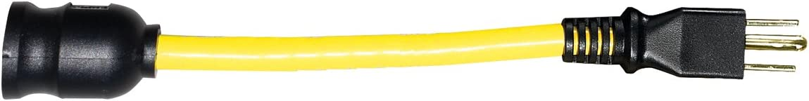Voltec 04-0092N 12//3 STW Locking Plug to U-Ground Connector Adapter 1-Foot Yellow