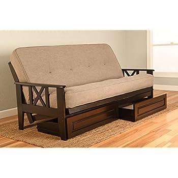 Montreal X Espresso Futon Frame w/ Quality 8 Inch Innerspring Mattress Sofa Bed Set Full Size (Stone Linen Matt, Frame and Drawer Set)