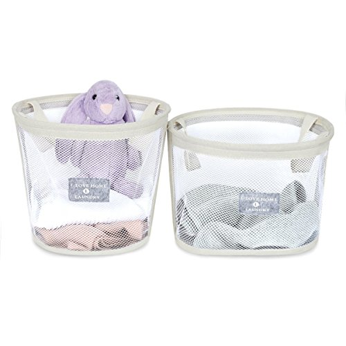 WISHPOOL Mesh Pop Up Laundry Hamper Collapsible Storage Bin Baskets with Handles for Laundry Nursery Baby Kid Toys Home Closet (2-PACK)