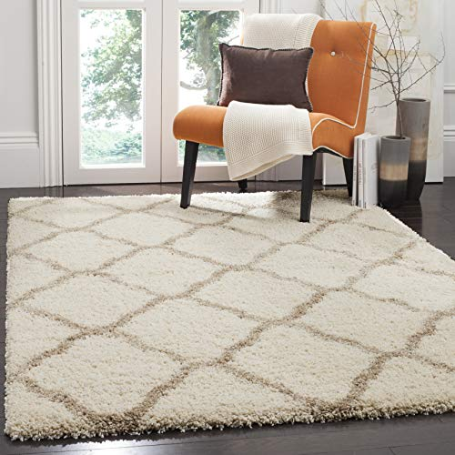 Safavieh Hudson Shag Collection SGH283D Ivory and Beige Moroccan Geometric Square Area Rug (7