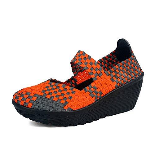 HKR Women Closed Peep Toe Woven Platform Wedges Mary Jane Sandals Comfort Weave Shoes Orange