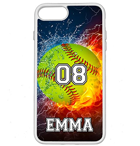 iPhone 6S Case, iPhone 6 Case, ArtsyCase Thunder Water Fire Softball Personalized Name Number Phone Case for iPhone 6 and iPhone 6S (White)