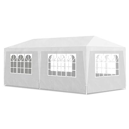 vidaXL Tente de Reception Blanc avec 6 Murs Pavillon Abris ...