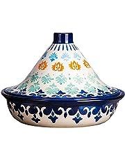 25Cm Tajine Saucepan, Handpainted Tagine Pot Ceramic Tagine Pot Saucepan for Cooking and Stew Casserole Slow Cooker Lead Free