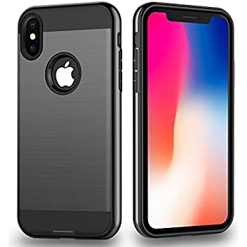 iPhone X Case, ALPULON Shockproof Heavy Duty Full Protective Cover with Dual Layer Case for Apple iPhone X- Black …
