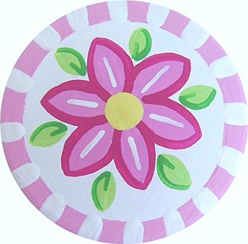 Pink Knob Gloss (Hand Painted Pink Flower Knob Decorative Dresser Knobs Cabinet Knobs Wood Knobs Kids Drawer Knobs Pulls)