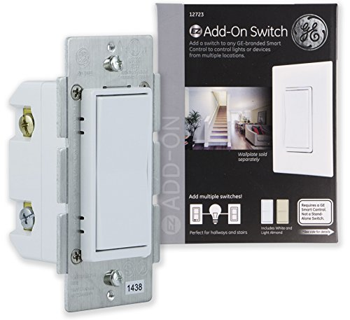 GE Add-On Switch only for GE Z-Wave, GE ZigBee and GE Bluetooth Wireless Smart Lighting Controls, NOT A STANDALONE SWITCH, Incl. White & Light Almond Paddles, 12723, Works with (Ge White Switch)
