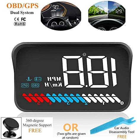 ACECAR Car Universal Dual System HUD Head Up Display OBD II GPS Interface,Vehicle Speed MPH KM h,Engine RPM,OverSpeed Warning,Mileage Measurement,Water Temperature,Voltage