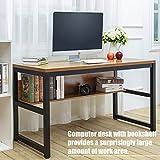 "TOPSKY 55"" Computer Desk with Bookshelf/Metal"