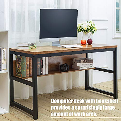 TOPSKY 55'' Computer Desk with Bookshelf/Metal Desk Grommet Hole Wire Cover (Oak_Brown+Black Frame) by TOPSKY (Image #2)