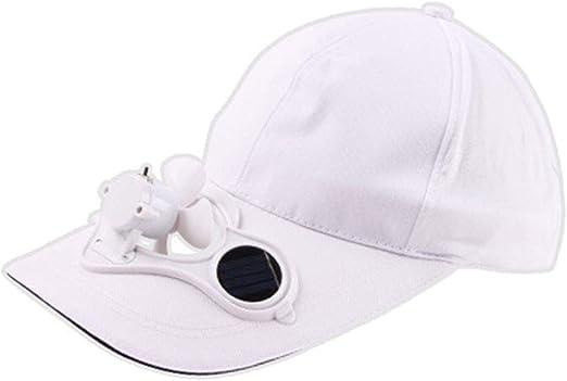 Gorra de béisbol para verano, para hombre y mujer, con ventilador de refrigeración solar, sombrero de playa con protección UV, ligero, transpirable, suave, plegable, para correr Tamaño libre blanco: Amazon.es: Hogar