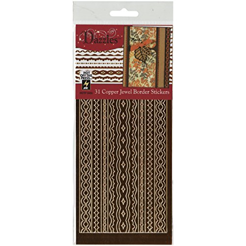 Hot Off The Press Jewel Border Dazzles Stickers, Mirror Copper -