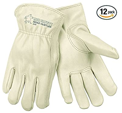 MCR Safety Grain Cow Full Leather Driver Premium Grade Gloves with Keystone Thumb and Self-Hemmed, X-Large, Cream, 12-Pack