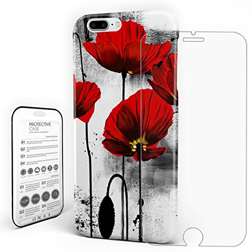 (Phone Case Protectivedesign Hard Back Case Ink Red Poppy Flowers Slim Case with a Glass Screen Protector for iPhone 7 Plus/iPhone 8)