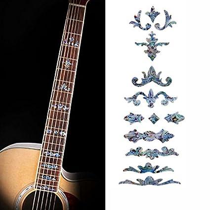 musicone imitación incrustaciones de madreperla diapasón marcadores adhesivos de vinilo para guitarra acústica y eléctrica