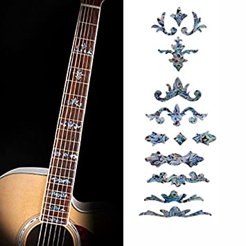 musicone imitación incrustaciones de madreperla diapasón marcadores adhesivos de vinilo para guitarra acústica y eléctrica: Amazon.es: Instrumentos ...