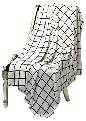 "51sz10gQDyL - 2 Pack- Bertte Ultra Velvet Plush Super Soft Decorative Throw Blanket-50""x 60"", Black& White Plaid- Pack of 2"