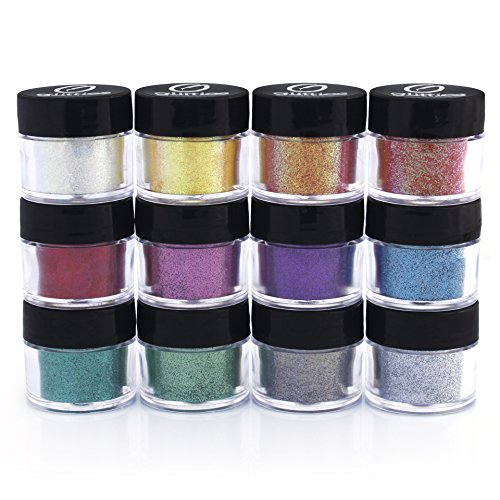 Glitties Cosmetic Glitter Powder Kit (12 PK)- Safe for eyeshadow, make up, body and nails.