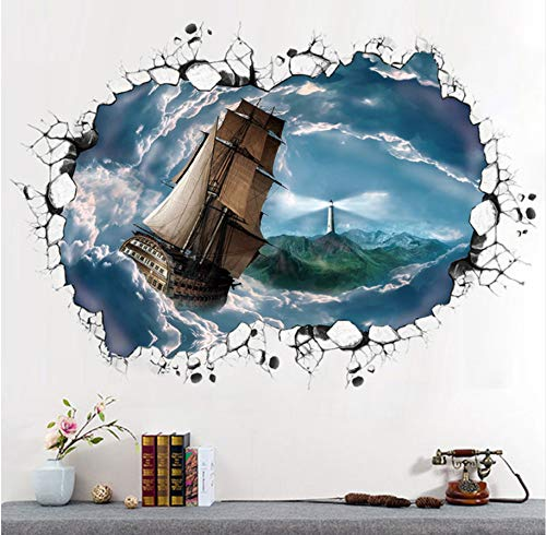 GUOXIN12 Creative 3D Sea of Clouds Sailing Sailboat Wall Stickers Ceiling Backdrop Mural Decal Home Decor Ceiling Flooring Series Ship 60X90Cm ()