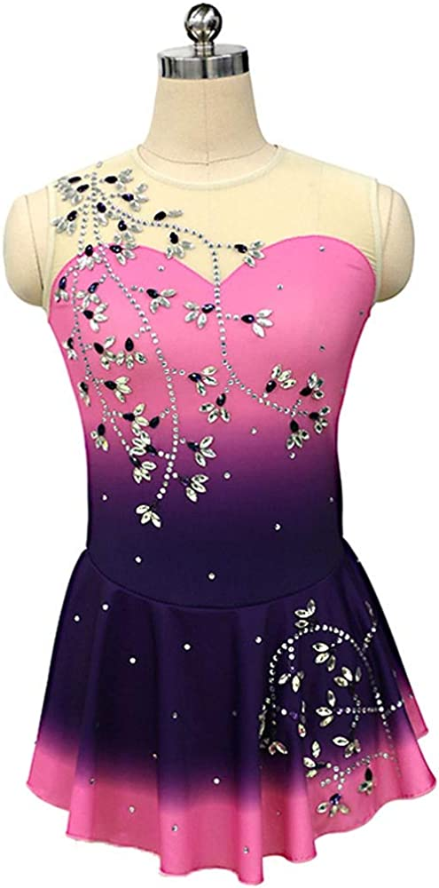 フィギュアスケートドレス女性女子アイススケートのパフォーマンス競争コスチュームスパンデックスラインストーン手作りのピンクのスケートウェアノースリーブ ピンク Child8
