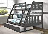 Twin Over Full Mission Bunk Bed with Twin Trundle in Dark Gray Finish