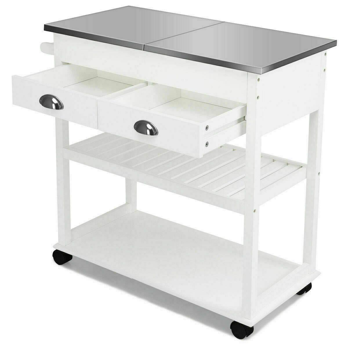 (Patio & Garden Furniture) Rolling Kitchen Island Trolley Cart Stainless Steel Flip Tabletop w/Drawer White by (Patio & Garden Furniture)