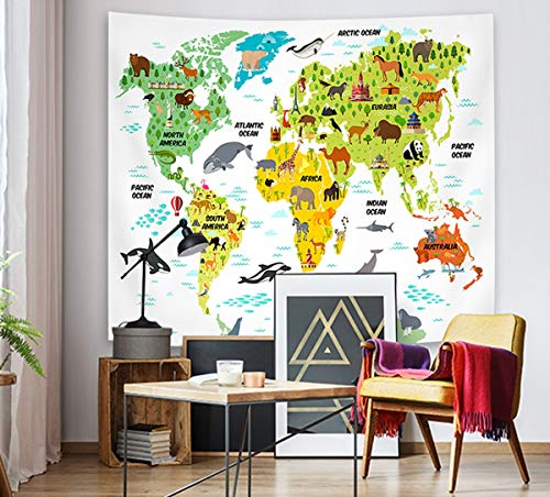 - Supermee Cute Animal Tapestry Blue World Map Tapestry Wall Hanging Cartoon Wild Creature Distribution Map Wall Blanket for Kids Children Bedroom Living Room Dorm Decor,59X51 Inch