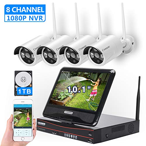 """[8CH,Expandable] All in one with 10.1"""" Monitor Wireless Security Camera System, Cromorc Home Business CCTV Surveillance 8CH 1080P NVR Kit, 4pcs 2MP 1080P Outdoor Night Vision IP Camera, 1TB Hard Drive"""