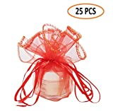 Couga Mall Colorful Organza Gift Bag, Special Drawstring Pouches for Travel Festival Wedding Party Favor Gift Bag with Unique Circular Design (25 PCS)