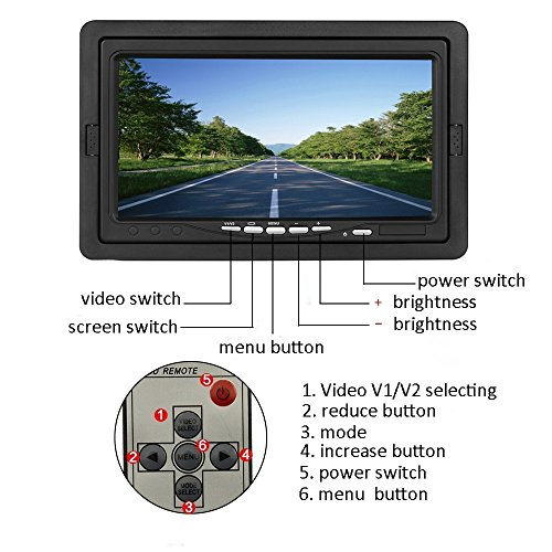 "Camecho 12V 24V Vehicle Backup Camera System 2 Caméra anti-caméras Support Vision nocturne imperméable et moniteur 7 ""avec deux câbles AV 34 ft pour bus / camion van / Trailer / RV / Camper hot sale"