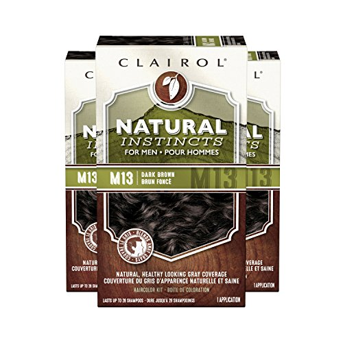 Clairol Natural Instincts Semi-Permanent Hair Color Kit For Men, 3 Pack, M13 Dark Brown Color, Ammonia Free, Long Lasting for 28 Shampoos by Clairol (Image #3)