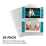 Samsill 25 Pack 4x6 Photo Album Pages for 3 Ring