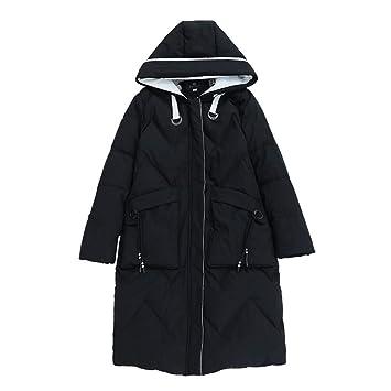 ZHAOWM Abajo chaqueta Chaqueta De Plumón Mujer Otoño Invierno Medio Sección  Larga Espesar Suelta Capucha Estudiante Moda Casual Abrigo De Algodón Cálido  A ... 07d3ca50e9b3