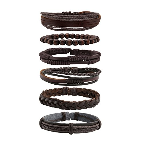 Milakoo 6 Pcs Braided Leather Bracelet for Men Women Wooden Beaded Bracelets Wrap Adjustable