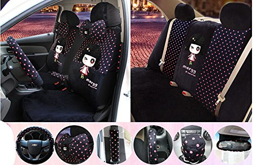 18pc 1 sets popular plush Seating of Men&women Favorite Cartoon doll car seat cover Car Covers Interior Accessories Four Seasons Black red dot by Maimai88