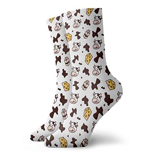 Men Women Winter Warm Socks Cow Milk Cheese Athletic Socks Home Cushion Crew Socks Moisture Wicking Stocking Compression Socks Christmas Gift For Boys Girls