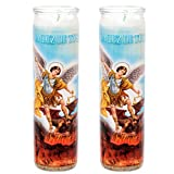 veladora Religious Prayer Candle in Glass Unscented ('San Miguel Arcangel', White (2 Pack))