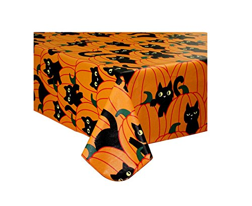 Halloween Tablecloth Vinyl Black Cat and Pumpkin Theme Flannel Back (70 Round) (Vinyl Halloween Tablecloth)