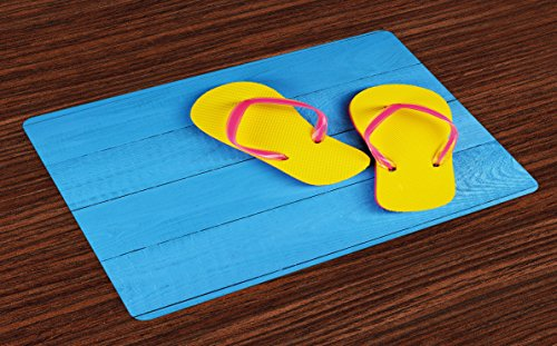 - Ambesonne Yellow and Blue Place Mats Set of 4, Flip Flops on Wooden Pier Cheerful Holiday Travel Relax Image, Washable Fabric Placemats for Dining Room Kitchen Table Decor, Sky Blue Yellow Pink