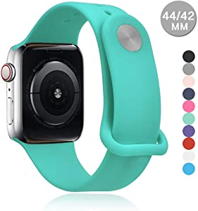 Compatible with Apple Watch Sports Band Series 4 (44mm, 40mm) Series 3 Series 2 Series 1 (42mm, 38mm) | Soft Silicone Replacement Band (Green, 40mm/38mm)
