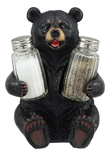 (Ebros Cuddling Black Teddy Bear Salt and Pepper Shakers Holder Figurine 7