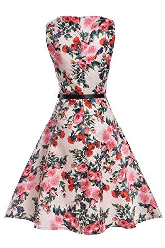 Yming Damas vestido de la vendimia del vestido del verano vestido de una línea Cocktaildresses vestidos de fiesta elegante playa flores blancas con las aves