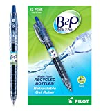 PILOT B2P - Bottle to Pen Refillable & Retractable Rolling Ball Gel Pen Made From Recycled Bottles, Fine Point, Blue G2 Ink, 12 Count (31601)