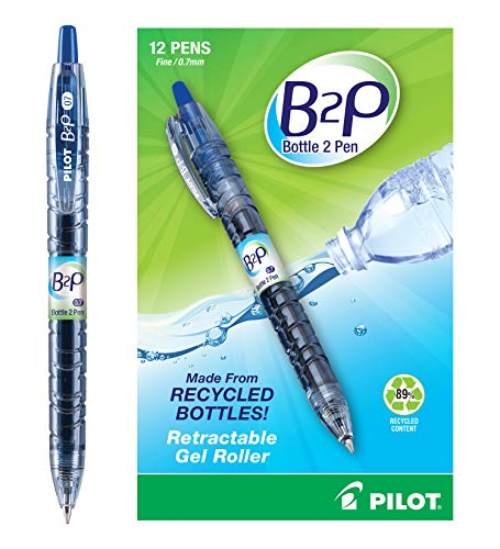 Pilot Bottle-2-Pen (B2P) - Retractable Premium Gel Roller Pens Made from Recycled Bottles (12 Count Box) Fine Point, Blue G2 Gel Ink, Refillable, Comfortable Grip (31601) ()